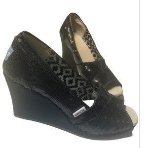 Toms Black Sequined Wedges 6.5